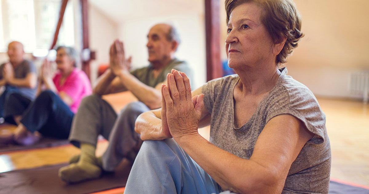 Yoga class for mature-aged people