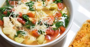 Healthy soup with vegetables and chicken