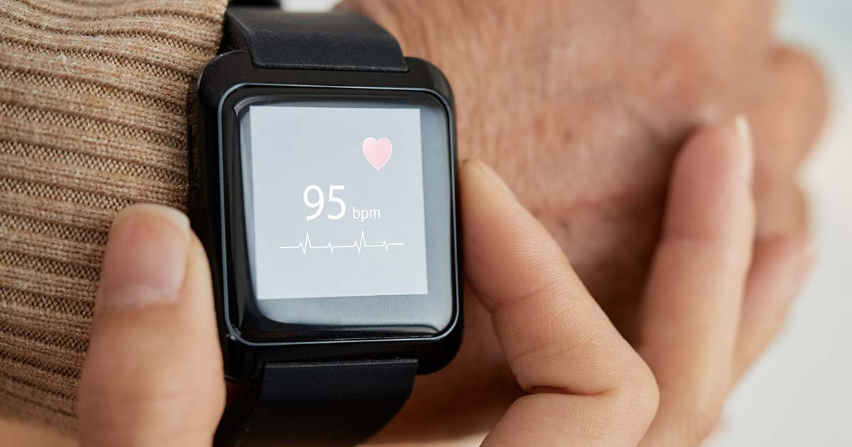 Smartwatch being used to monitor heart rate